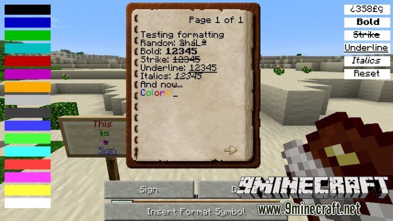 text formatting minecraft mod